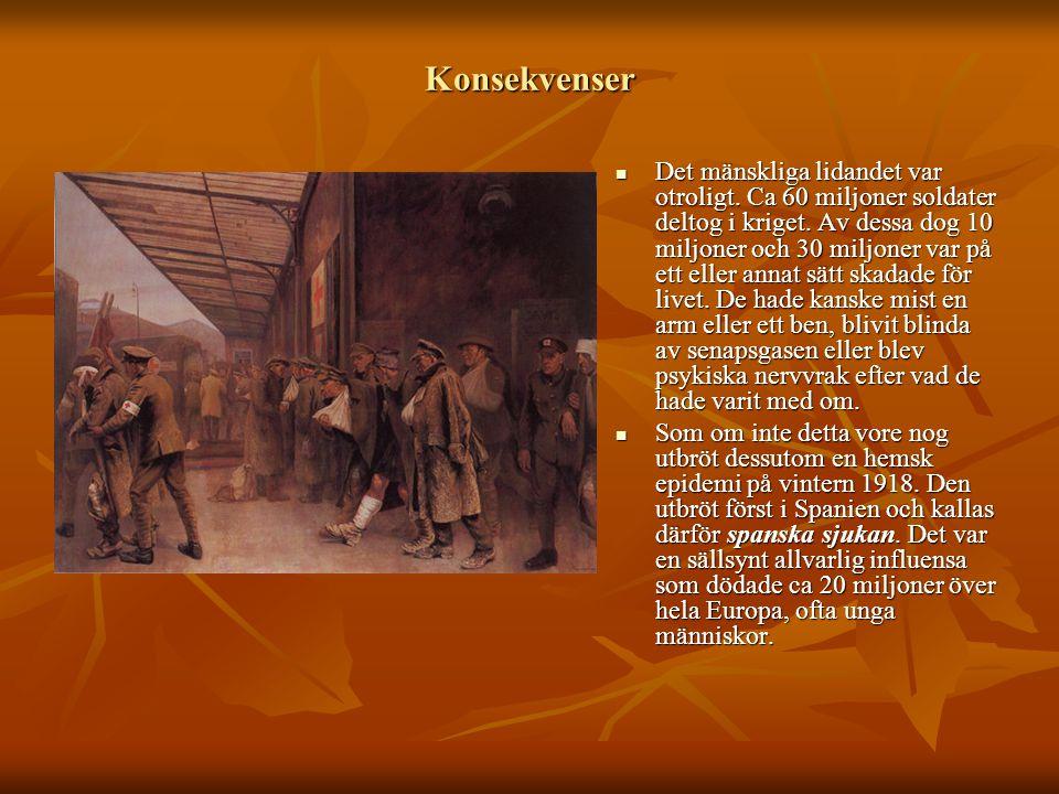 Konsekvenser  Det mänskliga lidandet var otroligt. Ca 60 miljoner soldater deltog i kriget. Av dessa dog 10 miljoner och 30 miljoner var på ett eller