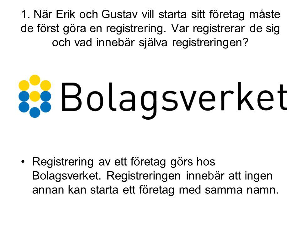 1. När Erik och Gustav vill starta sitt företag måste de först göra en registrering. Var registrerar de sig och vad innebär själva registreringen? •Re