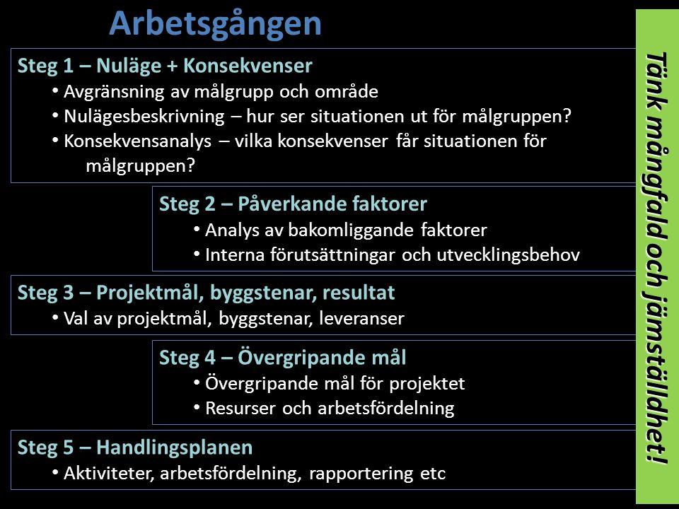 Arbetsgången Steg 2 – Påverkande faktorer • Analys av bakomliggande faktorer • Interna förutsättningar och utvecklingsbehov Steg 5 – Handlingsplanen • Aktiviteter, arbetsfördelning, rapportering etc Steg 4 – Övergripande mål • Övergripande mål för projektet • Resurser och arbetsfördelning Steg 3 – Projektmål, byggstenar, resultat • Val av projektmål, byggstenar, leveranser Steg 1 – Nuläge + Konsekvenser • Avgränsning av målgrupp och område • Nulägesbeskrivning – hur ser situationen ut för målgruppen.