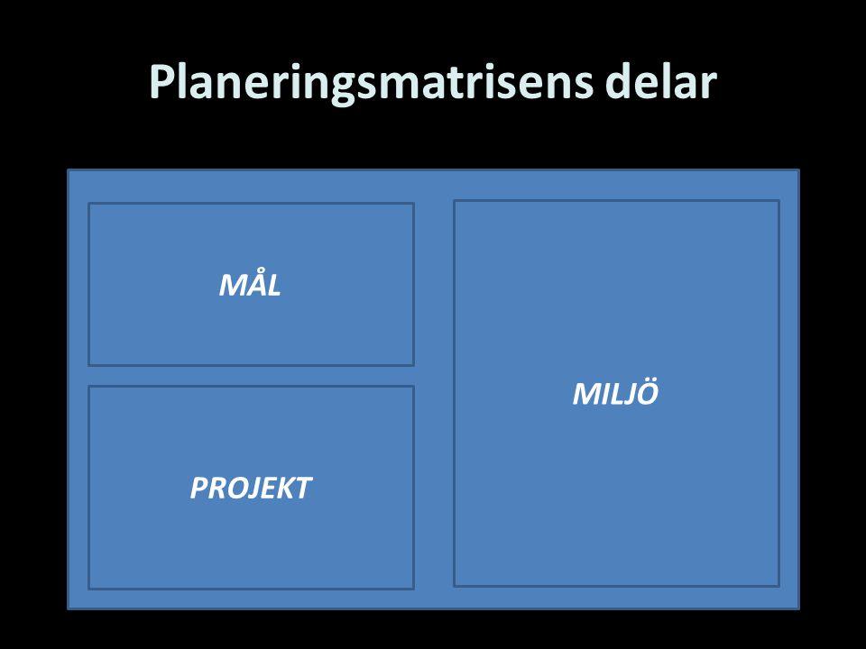 Planeringsmatrisens delar MILJÖ MÅL PROJEKT