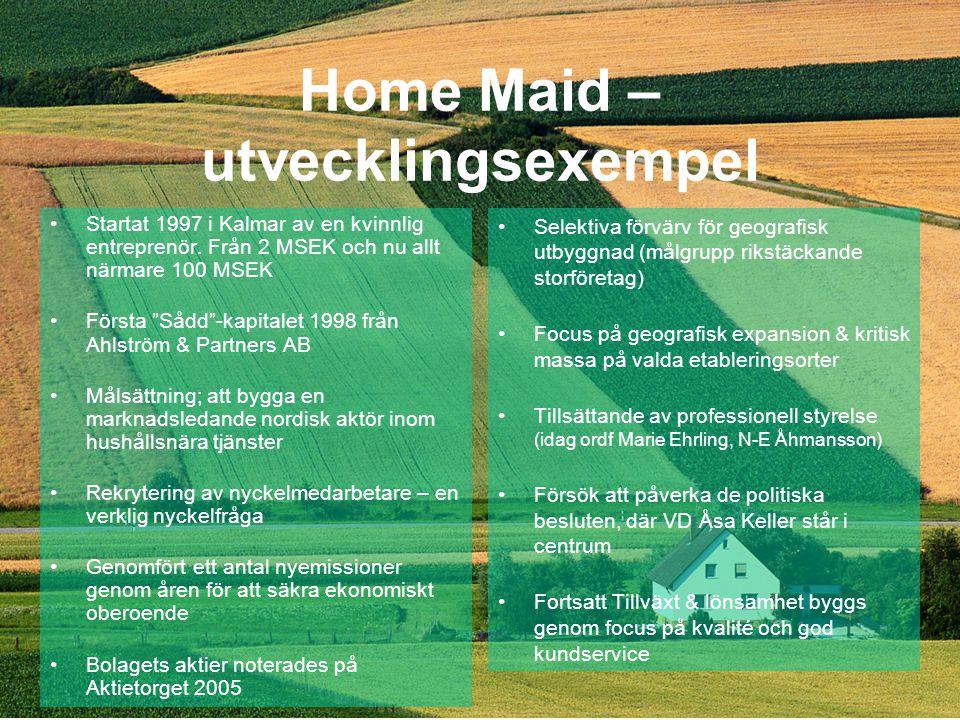 Home Maid – utvecklingsexempel •Startat 1997 i Kalmar av en kvinnlig entreprenör.