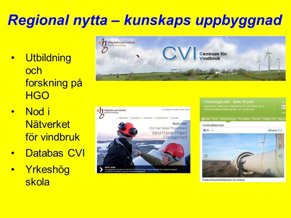 Regional nytta – kunskaps uppbyggnad •Utbildning och forskning på HGO •Nod i Nätverket för vindbruk •Databas CVI •Yrkeshög skola