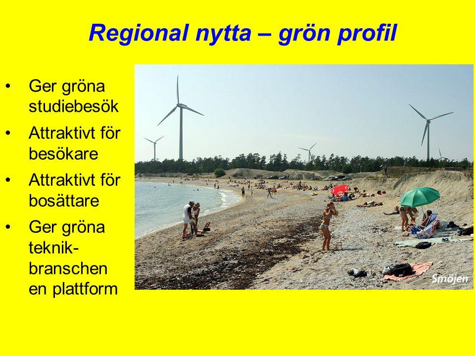 Regional nytta – grön profil •Ger gröna studiebesök •Attraktivt för besökare •Attraktivt för bosättare •Ger gröna teknik- branschen en plattform