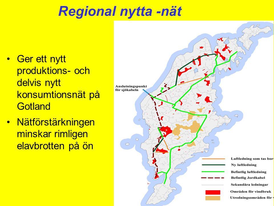 Regional nytta -nät •Ger ett nytt produktions- och delvis nytt konsumtionsnät på Gotland •Nätförstärkningen minskar rimligen elavbrotten på ön