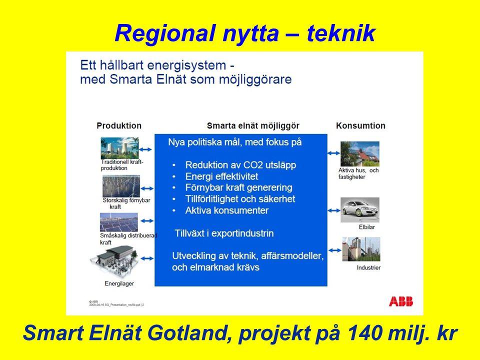 Smart Elnät Gotland, projekt på 140 milj. kr Regional nytta – teknik