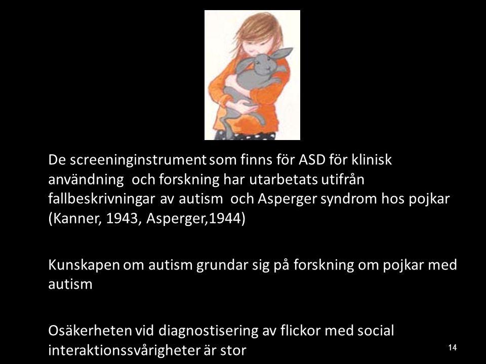 De screeninginstrument som finns för ASD för klinisk användning och forskning har utarbetats utifrån fallbeskrivningar av autism och Asperger syndrom