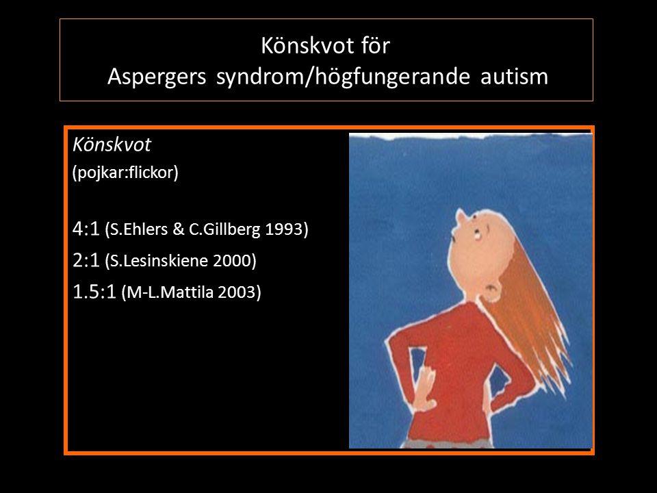 Könskvot för Aspergers syndrom/högfungerande autism Könskvot (pojkar:flickor) 4:1 (S.Ehlers & C.Gillberg 1993) 2:1 (S.Lesinskiene 2000) 1.5:1 (M-L.Mat
