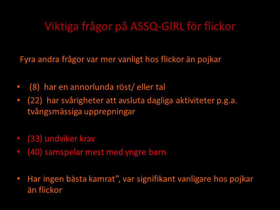 Viktiga frågor på ASSQ-GIRL för flickor Fyra andra frågor var mer vanligt hos flickor än pojkar • (8) har en annorlunda röst/ eller tal • (22) har svå