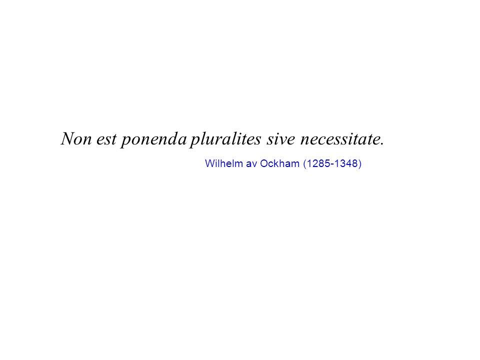 Non est ponenda pluralites sive necessitate. Wilhelm av Ockham (1285-1348)