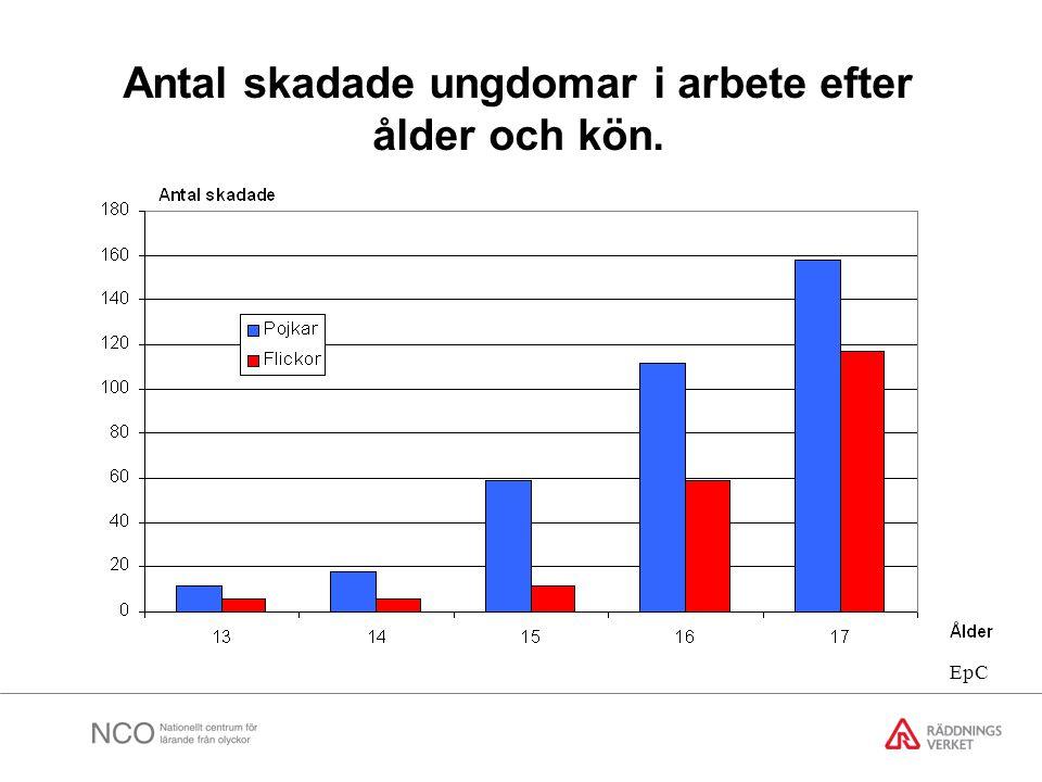 Antal skadade ungdomar i arbete efter ålder och kön. EpC