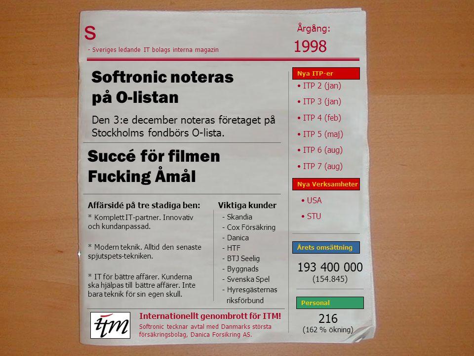 s Softronic noteras på O-listan Den 3:e december noteras företaget på Stockholms fondbörs O-lista.