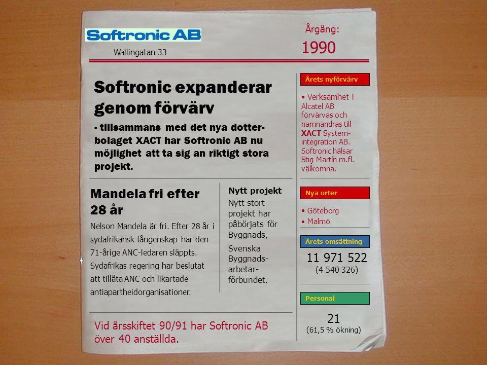 Softronic expanderar genom förvärv - tillsammans med det nya dotter- bolaget XACT har Softronic AB nu möjlighet att ta sig an riktigt stora projekt.