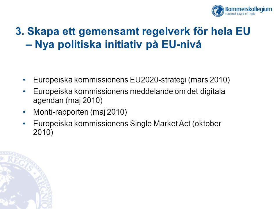 3. Skapa ett gemensamt regelverk för hela EU – Nya politiska initiativ på EU-nivå •Europeiska kommissionens EU2020-strategi (mars 2010) •Europeiska ko