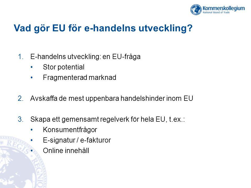 Vad gör EU för e-handelns utveckling.