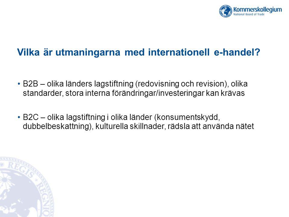 Vilka är utmaningarna med internationell e-handel.