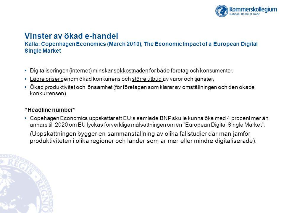 Vinster av ökad e-handel Källa: Copenhagen Economics (March 2010), The Economic Impact of a European Digital Single Market •Digitaliseringen (internet