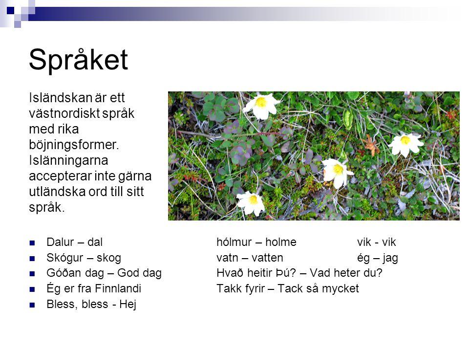 Språket  Dalur – dal hólmur – holmevik - vik  Skógur – skog vatn – vattenég – jag  Góðan dag – God dagHvað heitir Þú? – Vad heter du?  Ég er fra F