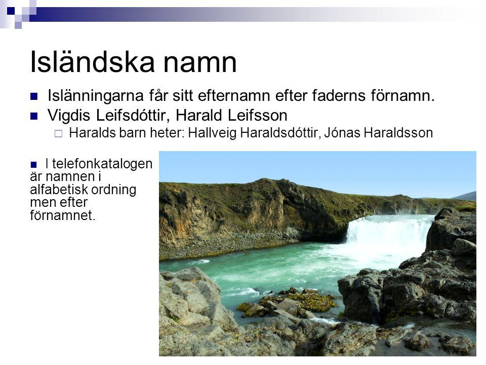 Isländska namn  Islänningarna får sitt efternamn efter faderns förnamn.  Vigdis Leifsdóttir, Harald Leifsson  Haralds barn heter: Hallveig Haraldsd