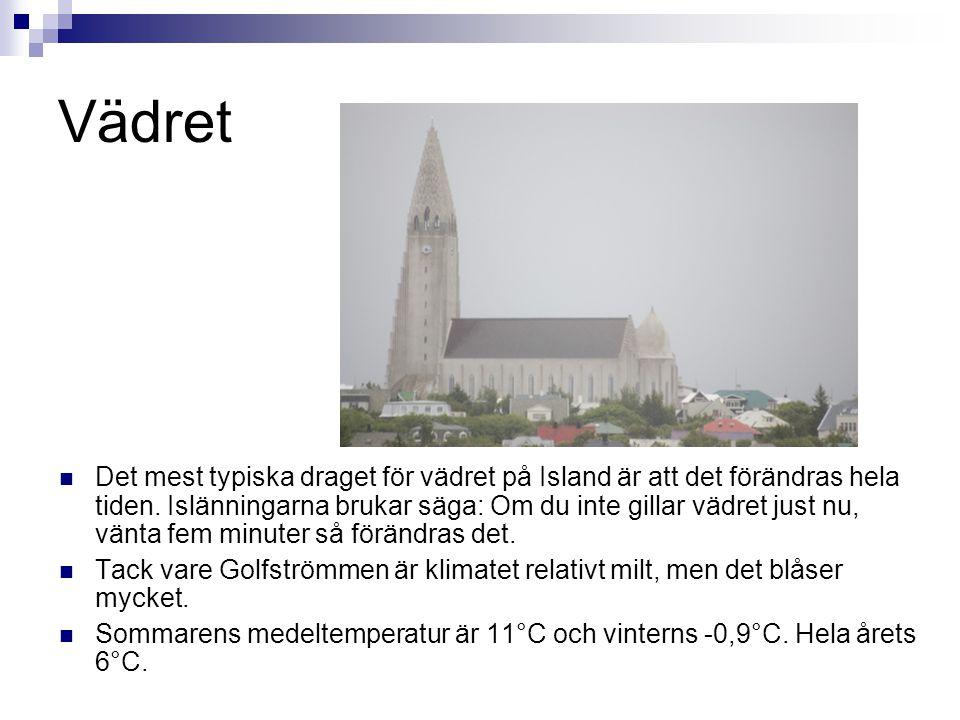 Vädret  Det mest typiska draget för vädret på Island är att det förändras hela tiden. Islänningarna brukar säga: Om du inte gillar vädret just nu, vä
