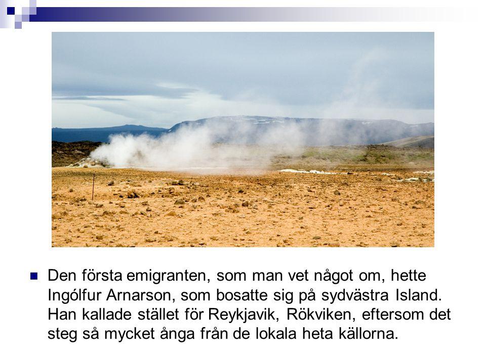 Den första emigranten, som man vet något om, hette Ingólfur Arnarson, som bosatte sig på sydvästra Island. Han kallade stället för Reykjavik, Rökvik