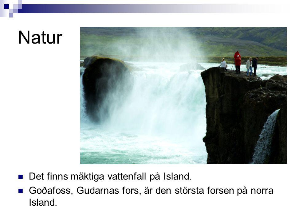 Natur  Det finns mäktiga vattenfall på Island.  Goðafoss, Gudarnas fors, är den största forsen på norra Island.