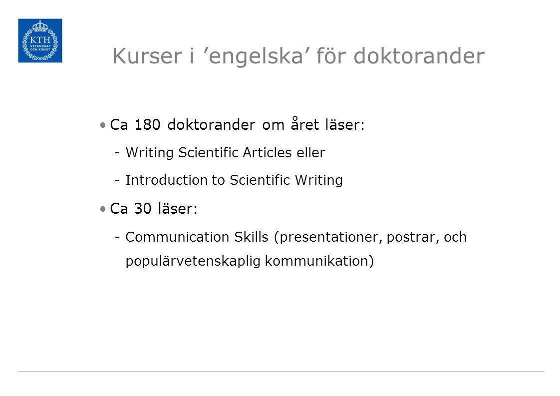 Kurser i 'engelska' för doktorander •Ca 180 doktorander om året läser: -Writing Scientific Articles eller -Introduction to Scientific Writing •Ca 30 läser: -Communication Skills (presentationer, postrar, och populärvetenskaplig kommunikation)
