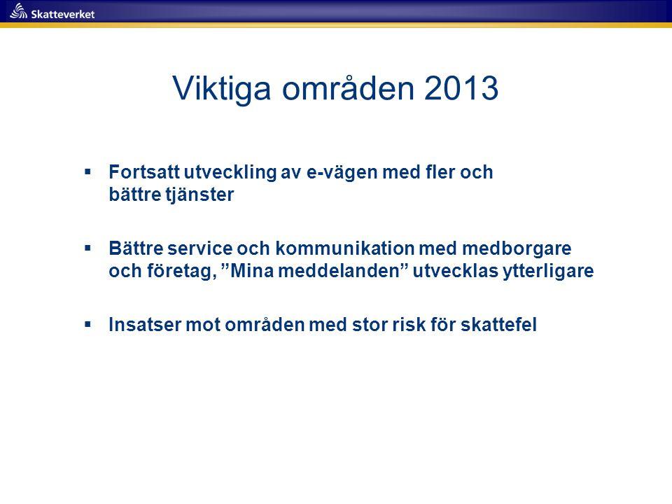 """Viktiga områden 2013  Fortsatt utveckling av e-vägen med fler och bättre tjänster  Bättre service och kommunikation med medborgare och företag, """"Min"""