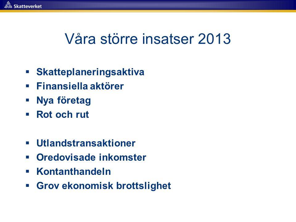 Våra större insatser 2013  Skatteplaneringsaktiva  Finansiella aktörer  Nya företag  Rot och rut  Utlandstransaktioner  Oredovisade inkomster 