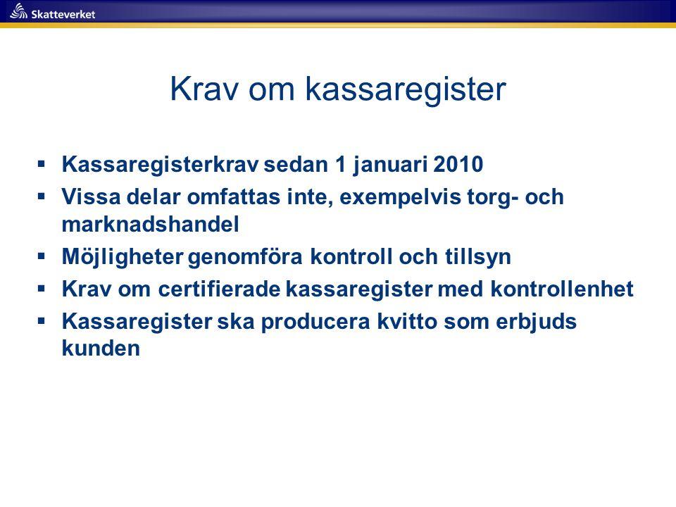 Krav om kassaregister  Kassaregisterkrav sedan 1 januari 2010  Vissa delar omfattas inte, exempelvis torg- och marknadshandel  Möjligheter genomför