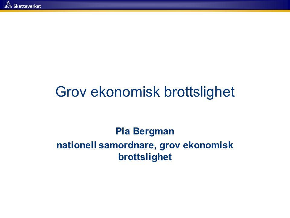 Grov ekonomisk brottslighet Pia Bergman nationell samordnare, grov ekonomisk brottslighet