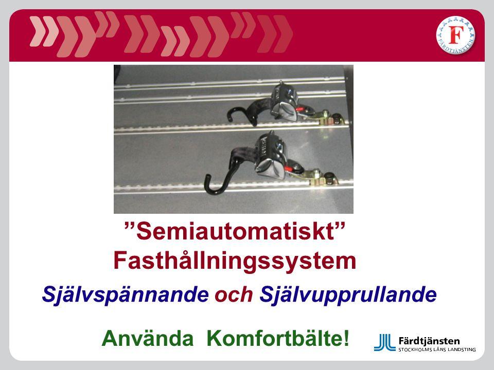 """""""Semiautomatiskt"""" Fasthållningssystem Självspännande och Självupprullande Använda Komfortbälte!"""