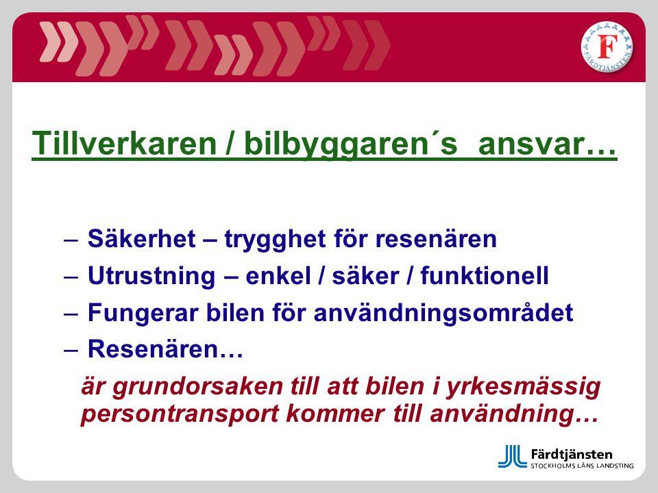 Studie redovisad 2007… Olyckor och kostnader inom färdtjänst Umeå Universitet, P-O Bylund m fl •Avseende –Beräkning av kostnader för själva händelsen –Beräkning av samhällsekonomiska kostnader –Hela kostnadsbilden inte primärt kollisionsrelaterade olyckor med fordonen… incident/resenärsorienterat