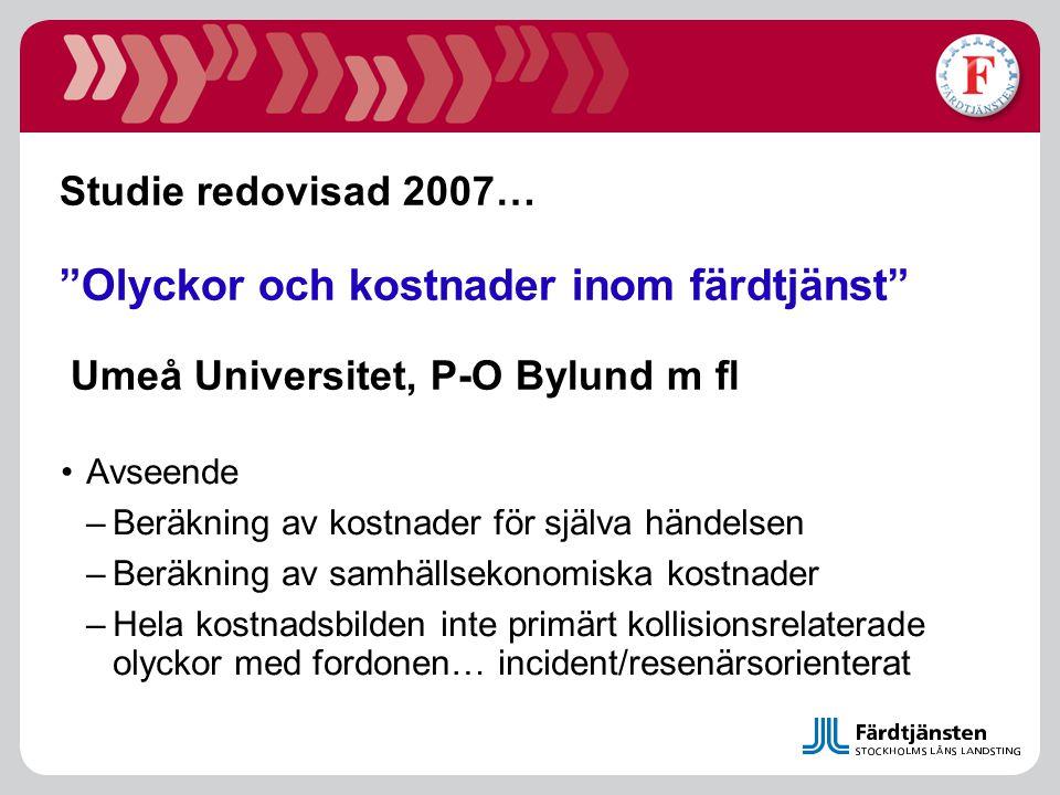 """Studie redovisad 2007… """"Olyckor och kostnader inom färdtjänst"""" Umeå Universitet, P-O Bylund m fl •Avseende –Beräkning av kostnader för själva händelse"""
