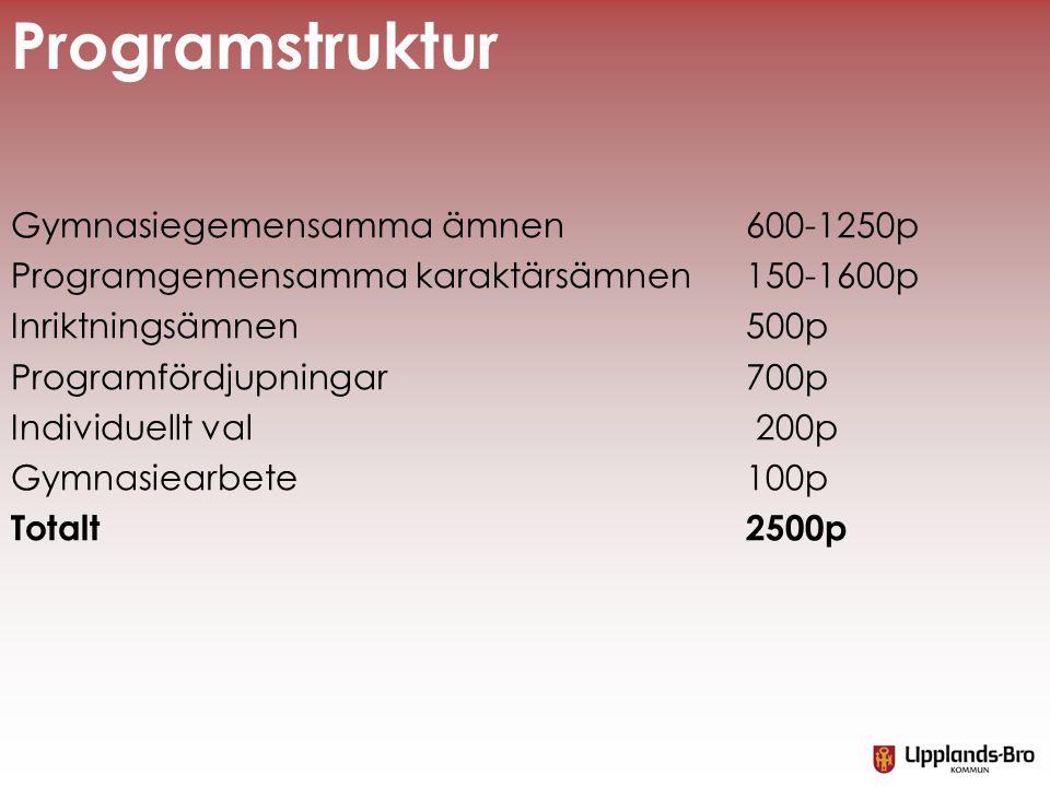 Gymnasiegemensamma ämnen 600-1250p Programgemensamma karaktärsämnen 150-1600p Inriktningsämnen 500p Programfördjupningar 700p Individuellt val 200p Gy