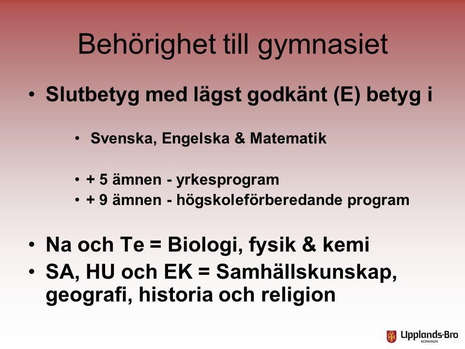 Behörighet till gymnasiet •Slutbetyg med lägst godkänt (E) betyg i • Svenska, Engelska & Matematik •+ 5 ämnen - yrkesprogram •+ 9 ämnen - högskoleförb