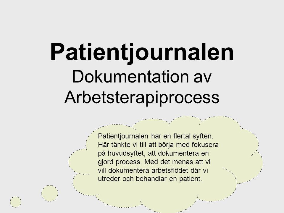 Patientjournalen Dokumentation av Arbetsterapiprocess Patientjournalen har en flertal syften. Här tänkte vi till att börja med fokusera på huvudsyftet