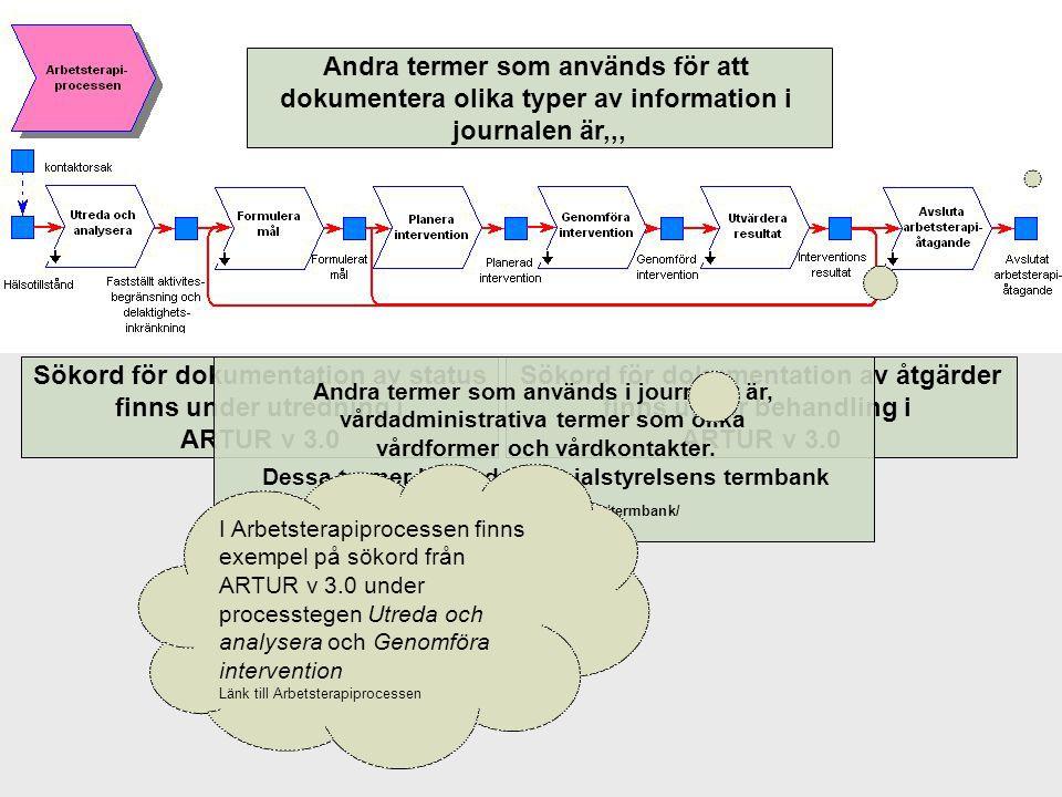 Andra termer som används för att dokumentera olika typer av information i journalen är,,, Sökord för dokumentation av åtgärder finns under behandling