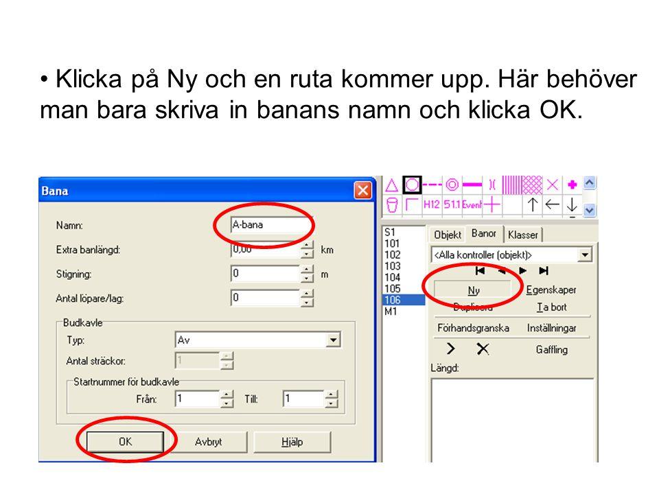 • Klicka på Ny och en ruta kommer upp. Här behöver man bara skriva in banans namn och klicka OK.