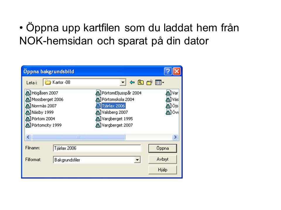 • Öppna upp kartfilen som du laddat hem från NOK-hemsidan och sparat på din dator