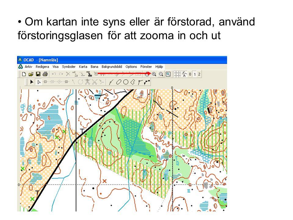 • Om kartan inte syns eller är förstorad, använd förstoringsglasen för att zooma in och ut
