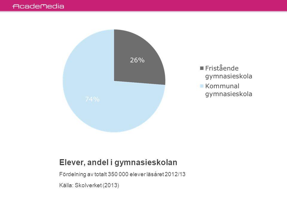Elever, andel i grundskolan Fördelning av totalt 900 000 elever läsåret 2012/13 Källa: Skolverket (2013)