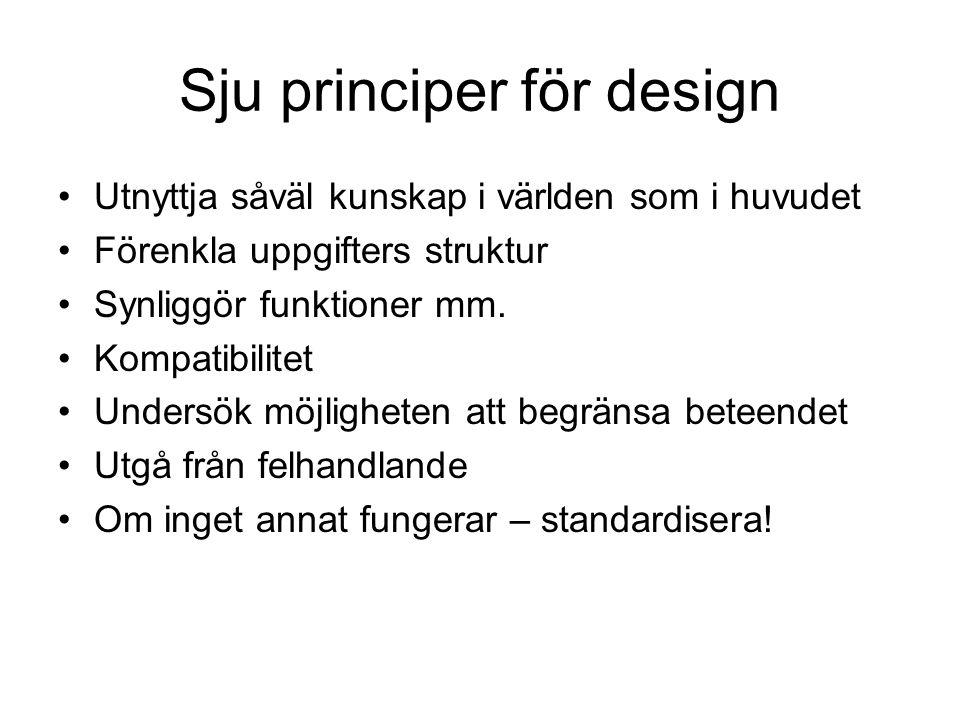 Sju principer för design •Utnyttja såväl kunskap i världen som i huvudet •Förenkla uppgifters struktur •Synliggör funktioner mm. •Kompatibilitet •Unde