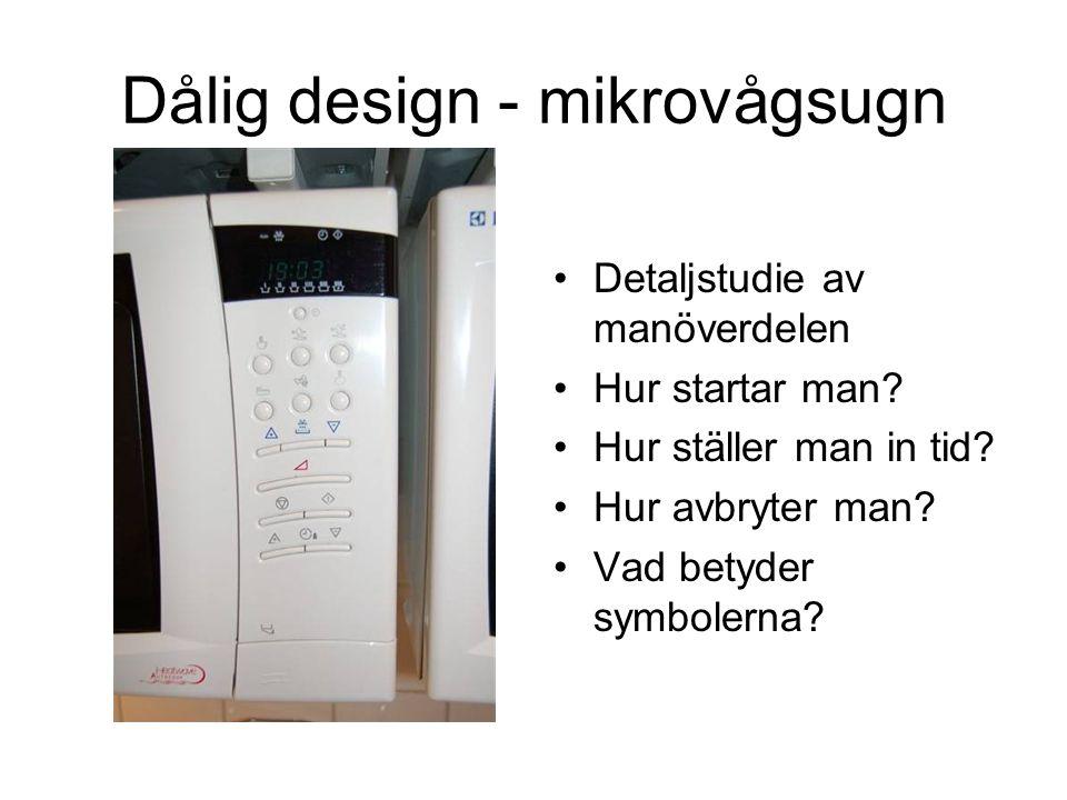 Bättre design - mikrovågsugn •Detaljstudie av manöverdelen •Hur startar man.