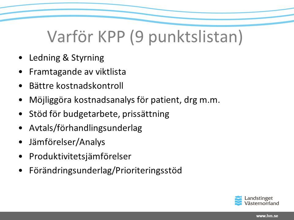 www.lvn.se Varför KPP (9 punktslistan) •Ledning & Styrning •Framtagande av viktlista •Bättre kostnadskontroll •Möjliggöra kostnadsanalys för patient,