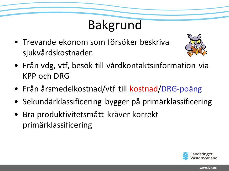 www.lvn.se Bakgrund •Trevande ekonom som försöker beskriva sjukvårdskostnader. •Från vdg, vtf, besök till vårdkontaktsinformation via KPP och DRG •Frå