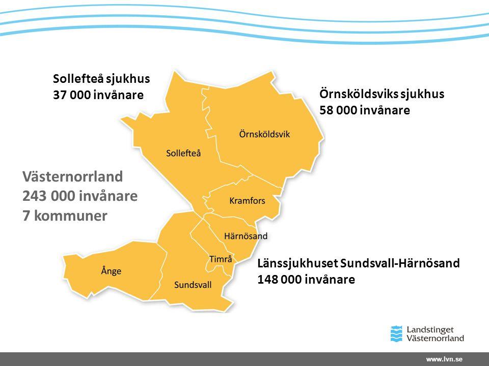 www.lvn.se Sollefteå sjukhus 37 000 invånare Örnsköldsviks sjukhus 58 000 invånare Länssjukhuset Sundsvall-Härnösand 148 000 invånare Västernorrland 2