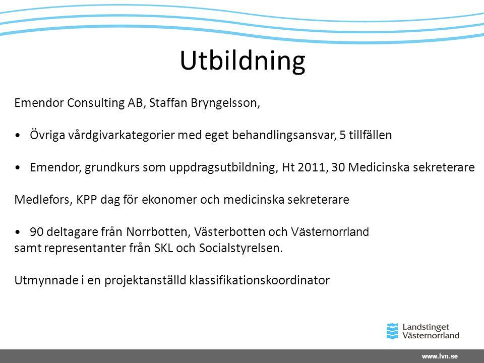 www.lvn.se Utbildning Emendor Consulting AB, Staffan Bryngelsson, • Övriga vårdgivarkategorier med eget behandlingsansvar, 5 tillfällen • Emendor, gru