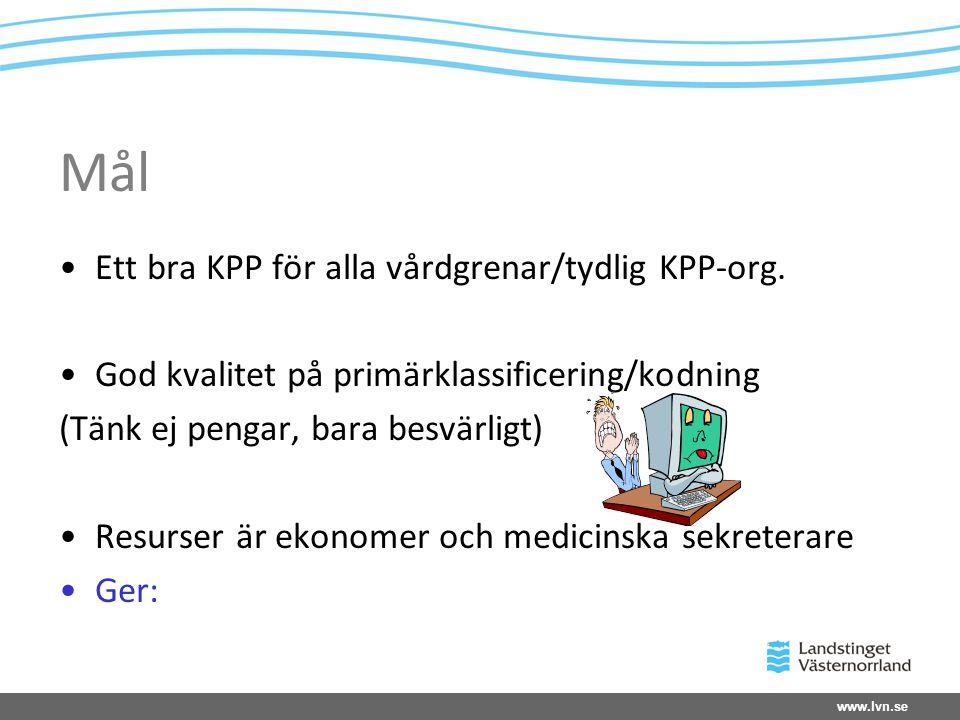 www.lvn.se Mål •Ett bra KPP för alla vårdgrenar/tydlig KPP-org. •God kvalitet på primärklassificering/kodning (Tänk ej pengar, bara besvärligt) •Resur