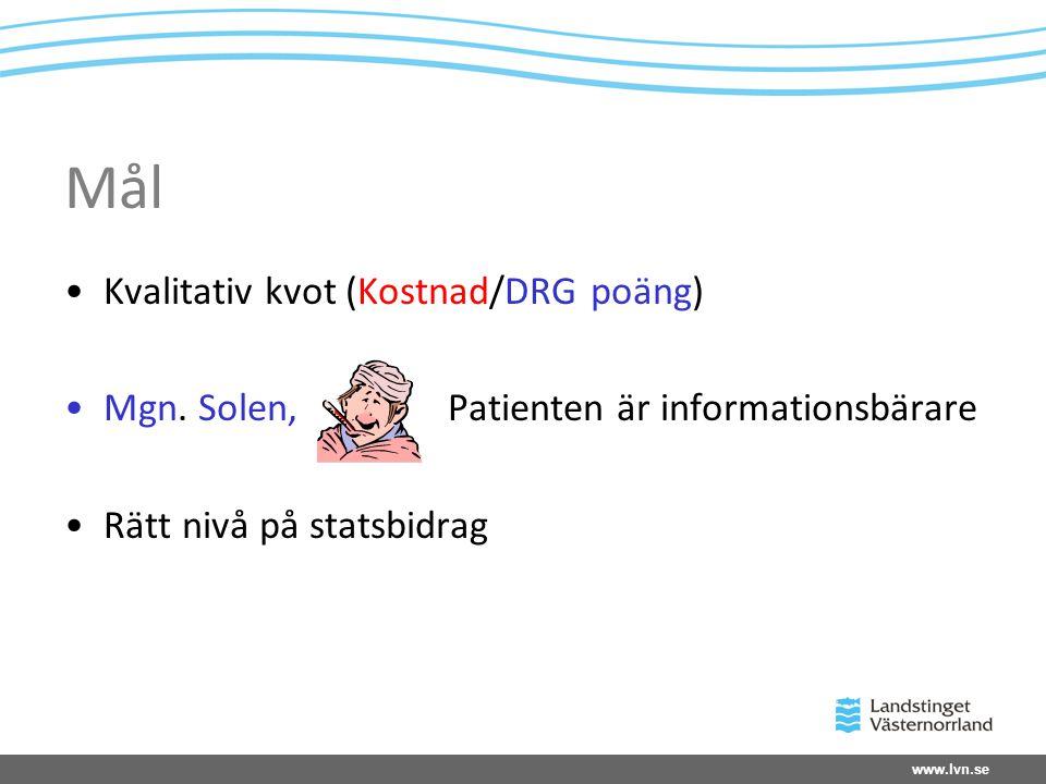 www.lvn.se Mål •Kvalitativ kvot (Kostnad/DRG poäng) •Mgn. Solen, Patienten är informationsbärare •Rätt nivå på statsbidrag