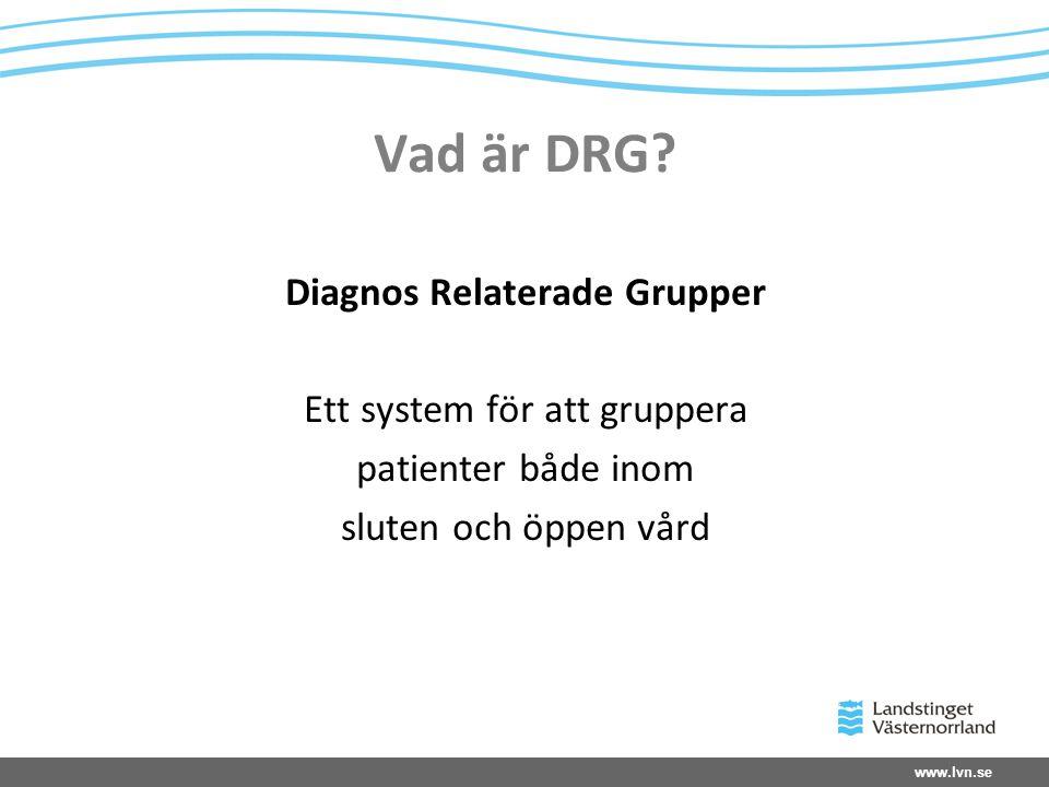 www.lvn.se Vad är DRG? Diagnos Relaterade Grupper Ett system för att gruppera patienter både inom sluten och öppen vård